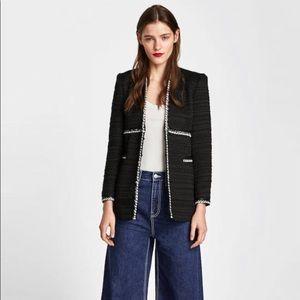 Zara Black White Tweed Long Coat Blazer